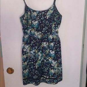 Floral Blue Sun Dress with Pockets